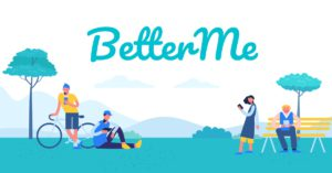 Better Me logo at the park with people looking at their phones